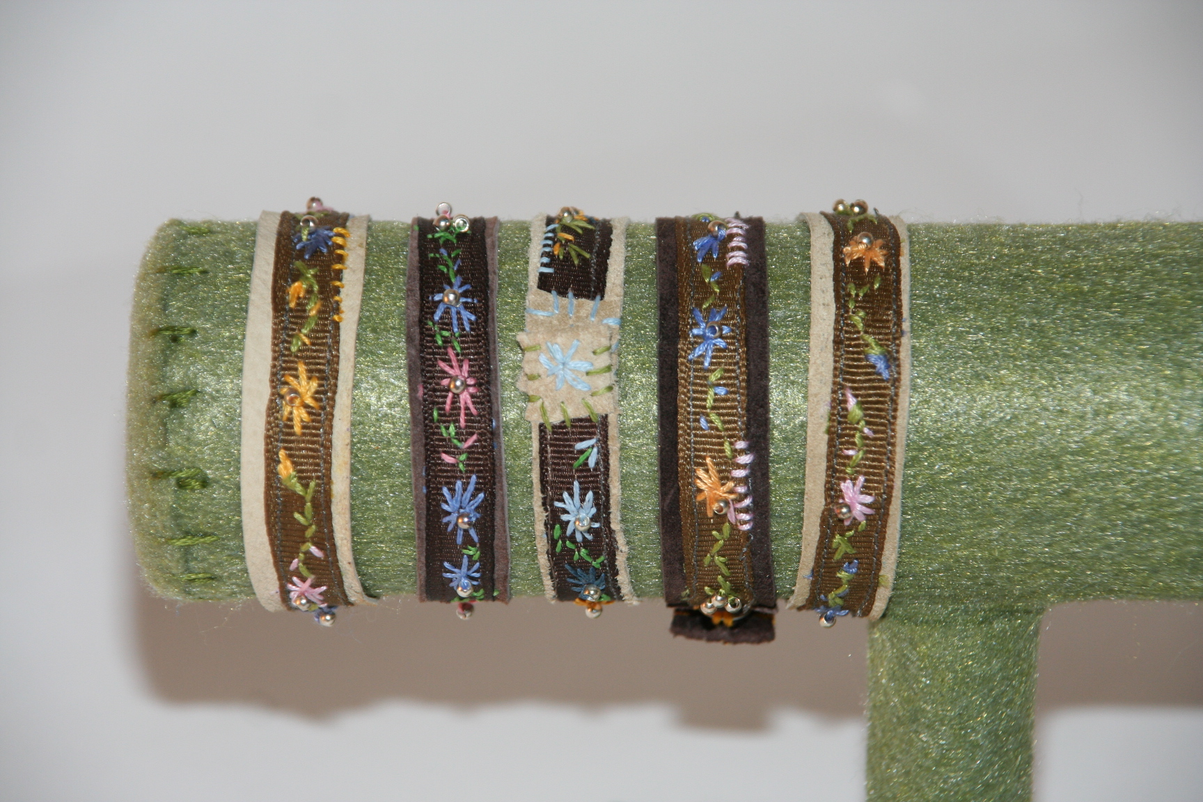 Embroidered Leather Embroidered Leather Bracelets